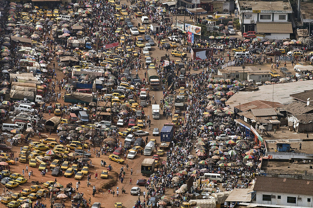 A view bustling downtown Monrovia by helicopter. Photo by UN capital city from a helicopter of the United Nations Mission in Liberia.